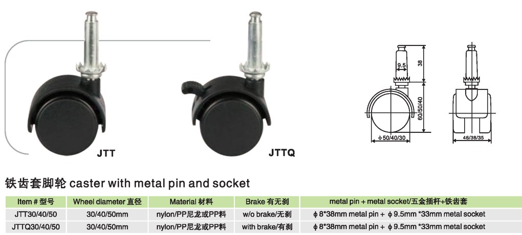 Caster with metal pin and socket JTT JTTQ